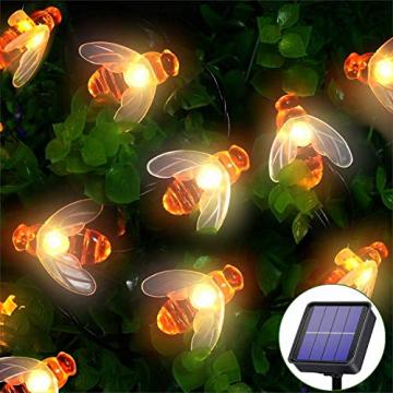 Solar Lichterkette Aussen,66LED Bienen lichterkette Wasserdichte 8 Modi , dekorativ für Garten, Rasen, Terrasse, Sommerfest, Weihnachten,Feiertag (Warmweiß) - 1