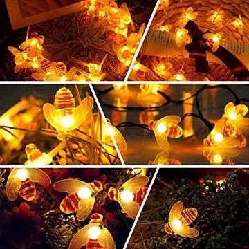 Solar Lichterkette Aussen,66LED Bienen lichterkette Wasserdichte 8 Modi , dekorativ für Garten, Rasen, Terrasse, Sommerfest, Weihnachten,Feiertag (Warmweiß) - 5