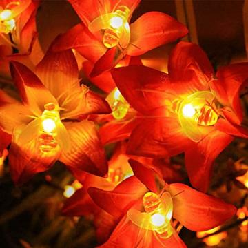 Solar Lichterkette Aussen,66LED Bienen lichterkette Wasserdichte 8 Modi , dekorativ für Garten, Rasen, Terrasse, Sommerfest, Weihnachten,Feiertag (Warmweiß) - 6