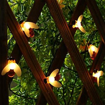 Solar Lichterkette Aussen,66LED Bienen lichterkette Wasserdichte 8 Modi , dekorativ für Garten, Rasen, Terrasse, Sommerfest, Weihnachten,Feiertag (Warmweiß) - 7