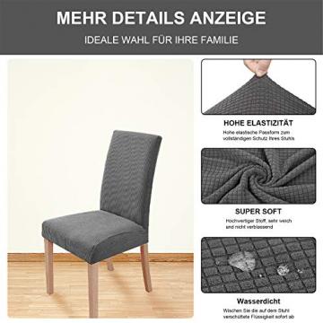 sorliva Stuhlhussen Stretch 4er Set Abnehmbarer waschbarer Stuhlbezug für das Esszimmer Moderne elastische Stuhlschutzdekoration für Büro Bankette Hochzeitsfest(Grau) - 3