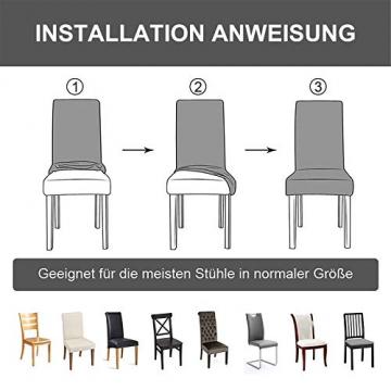 sorliva Stuhlhussen Stretch 4er Set Abnehmbarer waschbarer Stuhlbezug für das Esszimmer Moderne elastische Stuhlschutzdekoration für Büro Bankette Hochzeitsfest(Grau) - 4