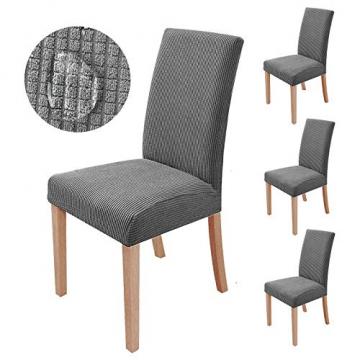 sorliva Stuhlhussen Stretch 4er Set Abnehmbarer waschbarer Stuhlbezug für das Esszimmer Moderne elastische Stuhlschutzdekoration für Büro Bankette Hochzeitsfest(Grau) - 1