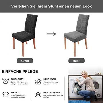 sorliva Stuhlhussen Stretch 4er Set Abnehmbarer waschbarer Stuhlbezug für das Esszimmer Moderne elastische Stuhlschutzdekoration für Büro Bankette Hochzeitsfest(Grau) - 5