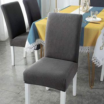 sorliva Stuhlhussen Stretch 4er Set Abnehmbarer waschbarer Stuhlbezug für das Esszimmer Moderne elastische Stuhlschutzdekoration für Büro Bankette Hochzeitsfest(Grau) - 7