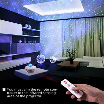 Sternenprojektor Nachtlicht, Sternenhimmel Projektor Starry Light mit Fernbedienung, Bluetooth Lautsprecher-Musik hören Welleneffekt für Party, Weihnachten, Ostern, Halloween (Weiß) - 2