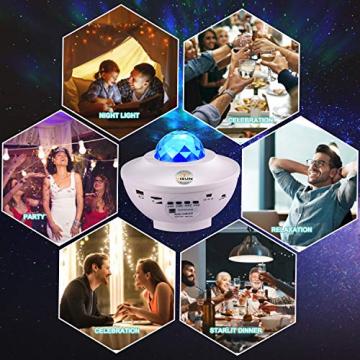 Sternenprojektor Nachtlicht, Sternenhimmel Projektor Starry Light mit Fernbedienung, Bluetooth Lautsprecher-Musik hören Welleneffekt für Party, Weihnachten, Ostern, Halloween (Weiß) - 3