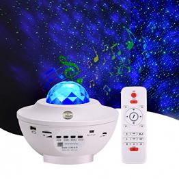 Sternenprojektor Nachtlicht, Sternenhimmel Projektor Starry Light mit Fernbedienung, Bluetooth Lautsprecher-Musik hören Welleneffekt für Party, Weihnachten, Ostern, Halloween (Weiß) - 1