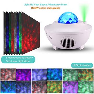 Sternenprojektor Nachtlicht, Sternenhimmel Projektor Starry Light mit Fernbedienung, Bluetooth Lautsprecher-Musik hören Welleneffekt für Party, Weihnachten, Ostern, Halloween (Weiß) - 4