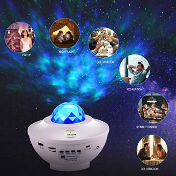 Sternenprojektor Nachtlicht, Sternenhimmel Projektor Starry Light mit Fernbedienung, Bluetooth Lautsprecher-Musik hören Welleneffekt für Party, Weihnachten, Ostern, Halloween (Weiß) - 5