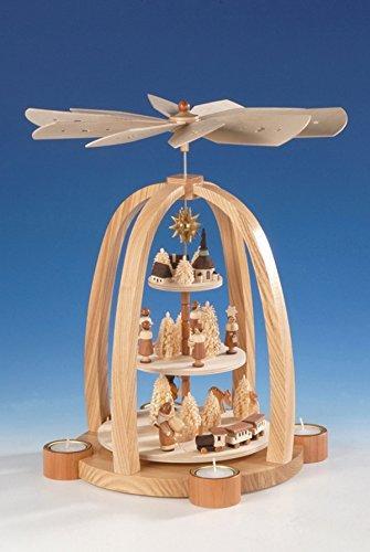 Teelichtpyramide 3-stöckig mit Kurrende – Weihnachtspyramide – Tischpyramide – Holz – Pyramide für Teelichte – Höhe 41 cm - Natur - Erzgebirge - NEU - 1