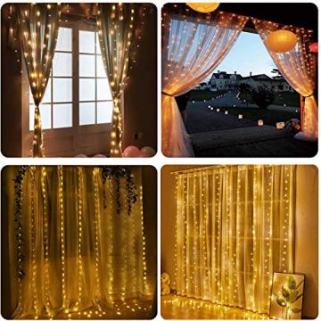 WEARXI 300 LEDs Lichtervorhang Deko - 3M 8 Modi LED Lichterkette Lichtvorhang, LED Vorhang Lichterketten für Zimmer Deko Schlafzimmer Deko, Weihnachtsdeko, Outdoor Deko Balkon (Warmweiß) - 2