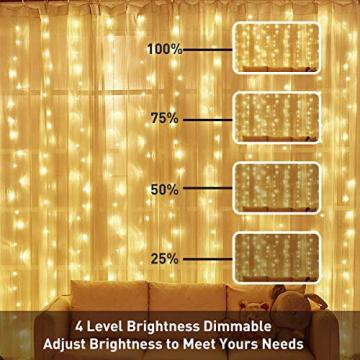 WEARXI 300 LEDs Lichtervorhang Deko - 3M 8 Modi LED Lichterkette Lichtvorhang, LED Vorhang Lichterketten für Zimmer Deko Schlafzimmer Deko, Weihnachtsdeko, Outdoor Deko Balkon (Warmweiß) - 3