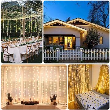 WEARXI 300 LEDs Lichtervorhang Deko - 3M 8 Modi LED Lichterkette Lichtvorhang, LED Vorhang Lichterketten für Zimmer Deko Schlafzimmer Deko, Weihnachtsdeko, Outdoor Deko Balkon (Warmweiß) - 4