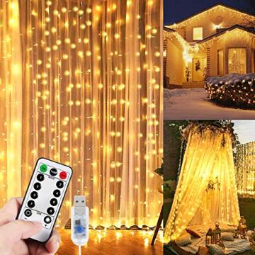 WEARXI 300 LEDs Lichtervorhang Deko - 3M 8 Modi LED Lichterkette Lichtvorhang, LED Vorhang Lichterketten für Zimmer Deko Schlafzimmer Deko, Weihnachtsdeko, Outdoor Deko Balkon (Warmweiß) - 1