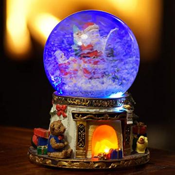 Wichtelstube-Kollektion XL LED Schneekugel Bescherung elektrischer Schneewirbel, viele Melodien und Farbwechsel Glitzerkugel - 2