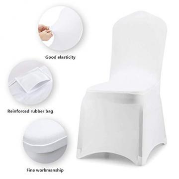 wolketon Stuhlhussen 6 Stück Universell Stuhlbezüge Elastik Moderne Stuhl Abdeckung Weiß - 3
