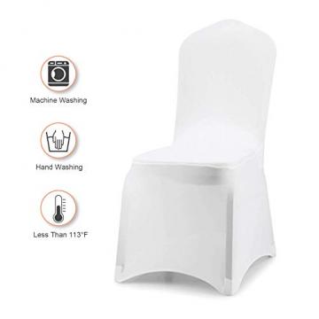 wolketon Stuhlhussen 6 Stück Universell Stuhlbezüge Elastik Moderne Stuhl Abdeckung Weiß - 4