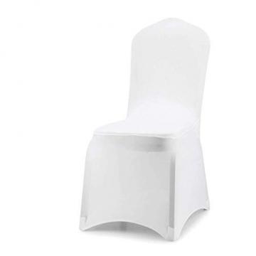wolketon Stuhlhussen 6 Stück Universell Stuhlbezüge Elastik Moderne Stuhl Abdeckung Weiß - 1