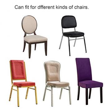 wolketon Stuhlhussen 6 Stück Universell Stuhlbezüge Elastik Moderne Stuhl Abdeckung Weiß - 5