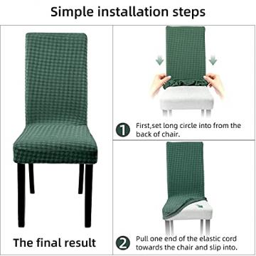 YISUN Stuhlhussen Stretch, Abnehmbare Waschbar Stuhlbezug Hussen Sitzfläche Elastisch Universal Stuhl Schutzhülle Set für Stuhl Esszimmer Weihnachten Deko(4er Set, Matcha grün) - 3