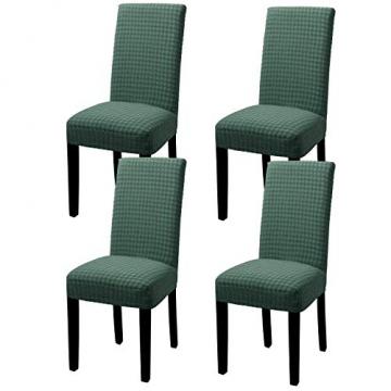 YISUN Stuhlhussen Stretch, Abnehmbare Waschbar Stuhlbezug Hussen Sitzfläche Elastisch Universal Stuhl Schutzhülle Set für Stuhl Esszimmer Weihnachten Deko(4er Set, Matcha grün) - 1