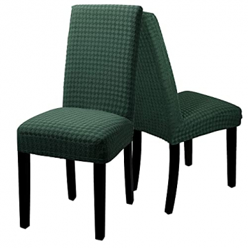 YISUN Stuhlhussen Stretch, Abnehmbare Waschbar Stuhlbezug Hussen Sitzfläche Elastisch Universal Stuhl Schutzhülle Set für Stuhl Esszimmer Weihnachten Deko(4er Set, Matcha grün) - 5