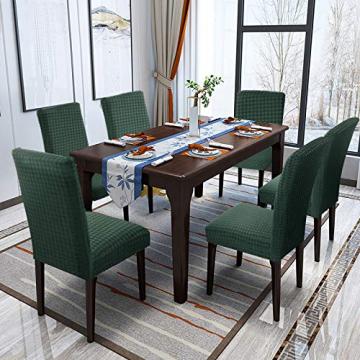 YISUN Stuhlhussen Stretch, Abnehmbare Waschbar Stuhlbezug Hussen Sitzfläche Elastisch Universal Stuhl Schutzhülle Set für Stuhl Esszimmer Weihnachten Deko(4er Set, Matcha grün) - 7