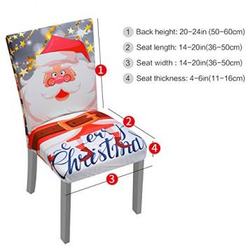 YISUN Universal Stretch Stuhlhussen 4er 6er Set Stuhlbezug für Stuhl Esszimmer (6er Set, Weihnachten) - 3