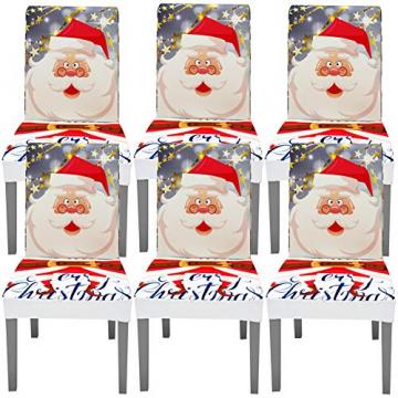 YISUN Universal Stretch Stuhlhussen 4er 6er Set Stuhlbezug für Stuhl Esszimmer (6er Set, Weihnachten) - 1