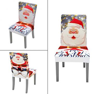 YISUN Universal Stretch Stuhlhussen 4er 6er Set Stuhlbezug für Stuhl Esszimmer (6er Set, Weihnachten) - 5