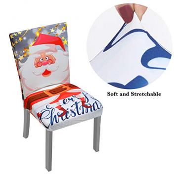 YISUN Universal Stretch Stuhlhussen 4er 6er Set Stuhlbezug für Stuhl Esszimmer (6er Set, Weihnachten) - 6
