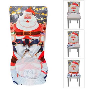 YISUN Universal Stretch Stuhlhussen 4er 6er Set Stuhlbezug für Stuhl Esszimmer (6er Set, Weihnachten) - 7