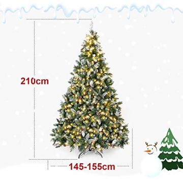 Yorbay künstlicher Weihnachtsbaum mit Beleuchtung weiß Schnee LED Tannenbaum für Weihnachten-Dekoration (210CM) - 2
