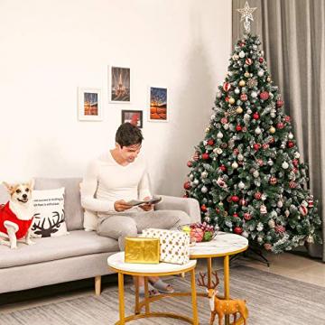 Yorbay künstlicher Weihnachtsbaum mit Beleuchtung weiß Schnee LED Tannenbaum für Weihnachten-Dekoration (210CM) - 6
