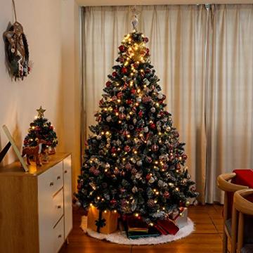 Yorbay künstlicher Weihnachtsbaum mit Beleuchtung weiß Schnee LED Tannenbaum für Weihnachten-Dekoration (210CM) - 8