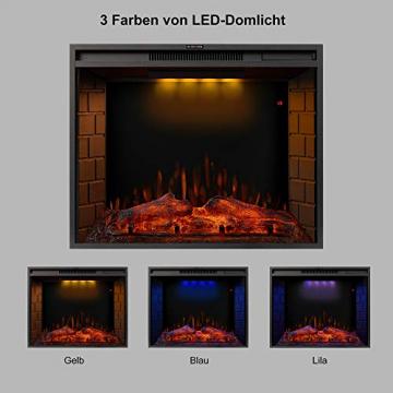 YSINOBEAR Elektrokamin,Elektrischer Kamin mit Heizung, Wandkamin (LED Flamme, Timer, Fernbedienung und Touchscreen, 750/1500W Leistung), Schwarz, 28 Zoll, E-Kamin für Wohnzimmer Schlafzimmer - 4