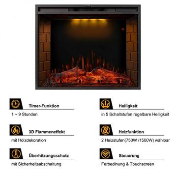 YSINOBEAR Elektrokamin,Elektrischer Kamin mit Heizung, Wandkamin (LED Flamme, Timer, Fernbedienung und Touchscreen, 750/1500W Leistung), Schwarz, 28 Zoll, E-Kamin für Wohnzimmer Schlafzimmer - 5
