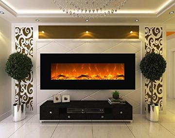 GLOW FIRE Elektrokamin mit Heizung, Wandkamin mit LED | Künstliches Feuer mit zuschaltbarem Heizlüfter: 750/1500 W | Fernbedienung (Größe L - 126 cm, Schwarz) - 2