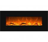 GLOW FIRE Elektrokamin mit Heizung, Wandkamin mit LED   Künstliches Feuer mit zuschaltbarem Heizlüfter: 750/1500 W   Fernbedienung (Größe L - 126 cm, Schwarz) - 1