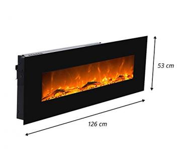 GLOW FIRE Elektrokamin mit Heizung, Wandkamin mit LED | Künstliches Feuer mit zuschaltbarem Heizlüfter: 750/1500 W | Fernbedienung (Größe L - 126 cm, Schwarz) - 4