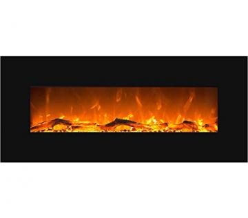 GLOW FIRE Elektrokamin mit Heizung, Wandkamin mit LED | Künstliches Feuer mit zuschaltbarem Heizlüfter: 750/1500 W | Fernbedienung (Größe L - 126 cm, Schwarz) - 1