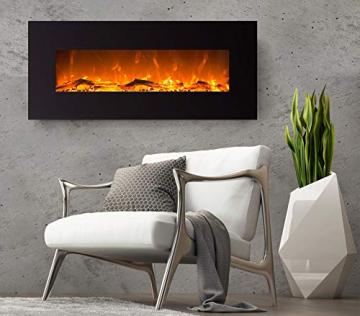 GLOW FIRE Elektrokamin mit Heizung, Wandkamin mit LED | Künstliches Feuer mit zuschaltbarem Heizlüfter: 750/1500 W | Fernbedienung (Größe L - 126 cm, Schwarz) - 7