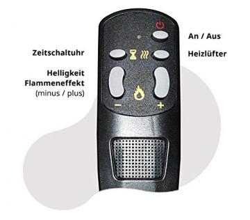 GLOW FIRE Elektrokamin mit Heizung, Wandkamin mit LED | Künstliches Feuer mit zuschaltbarem Heizlüfter: 750/1500 W | Fernbedienung (Größe L - 126 cm, Schwarz) - 8