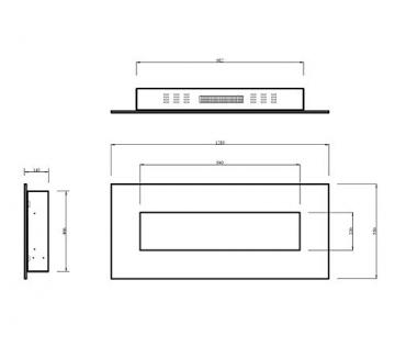 GLOW FIRE Elektrokamin mit Heizung, Wandkamin mit LED | Künstliches Feuer mit zuschaltbarem Heizlüfter: 750/1500 W | Fernbedienung (Größe L - 126 cm, Schwarz) - 9