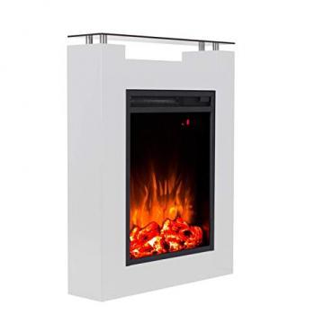 GLOW FIRE Elektrokamin mit Heizung, Wandkamin und Standkamin mit LED | Künstliches Feuer mit zuschaltbarem Heizlüfter: 1000/2000 W | Fernbedienung, Dimmer, Weiß | modern - 3