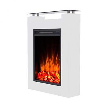 GLOW FIRE Elektrokamin mit Heizung, Wandkamin und Standkamin mit LED | Künstliches Feuer mit zuschaltbarem Heizlüfter: 1000/2000 W | Fernbedienung, Dimmer, Weiß | modern - 4