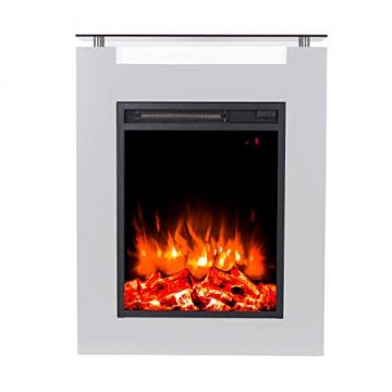 GLOW FIRE Elektrokamin mit Heizung, Wandkamin und Standkamin mit LED | Künstliches Feuer mit zuschaltbarem Heizlüfter: 1000/2000 W | Fernbedienung, Dimmer, Weiß | modern - 1