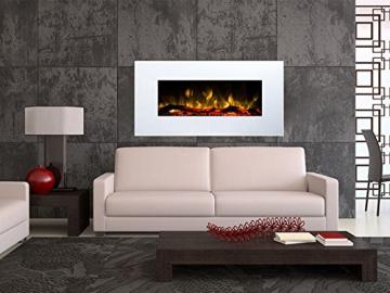 GLOW FIRE Neptun Elektrokamin mit Heizung, Wandkamin mit LED | Künstliches Feuer mit zuschaltbarem Heizlüfter: 750/1500 W | Fernbedienung, 84 cm, Weiß - 3