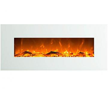 GLOW FIRE Venus Elektrokamin mit Heizung, Wandkamin mit LED | Künstliches Feuer mit zuschaltbarem Heizlüfter: 750/1500 W | Fernbedienung, 126 cm, Weiß - 1
